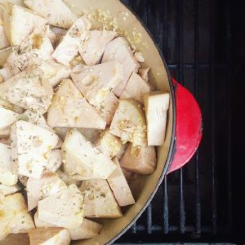 It looks like funny tofu chunks now, but it will magically turn into pulled mock pork...