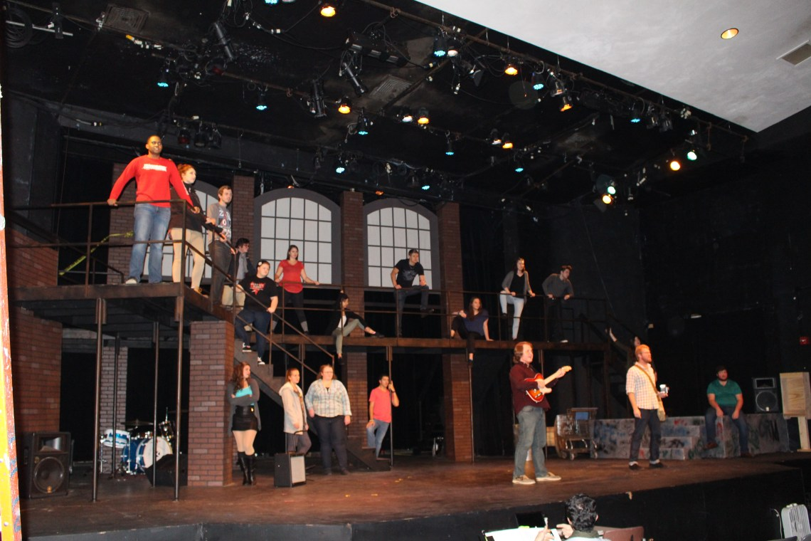 "The entire cast practicing the opening number, ""Rent."" (MC Kelly/Easttennessean)"
