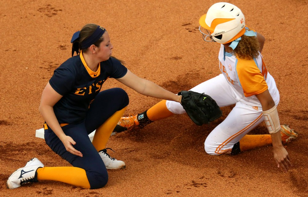 The ETSU softball team lost to UT. With the win, the Lady Vols extended its winning streak against in-state opponents to 82 games. (Photograph Courtesy of ETSU Athletics)