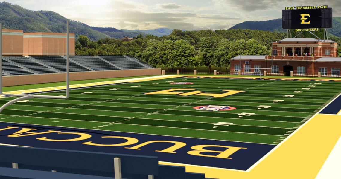 The ETSU department of Intercollegiate Athletics announced that the football stadium will be located between the Center for Physical Activity and the Physical Plant Building. (Photograph Courtesy of ETSU)