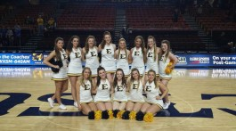 The ETSU Dance Team performs at many events, like basketball games. Gibson is front row, second from the left.  Crabtree is back row, second from the right.