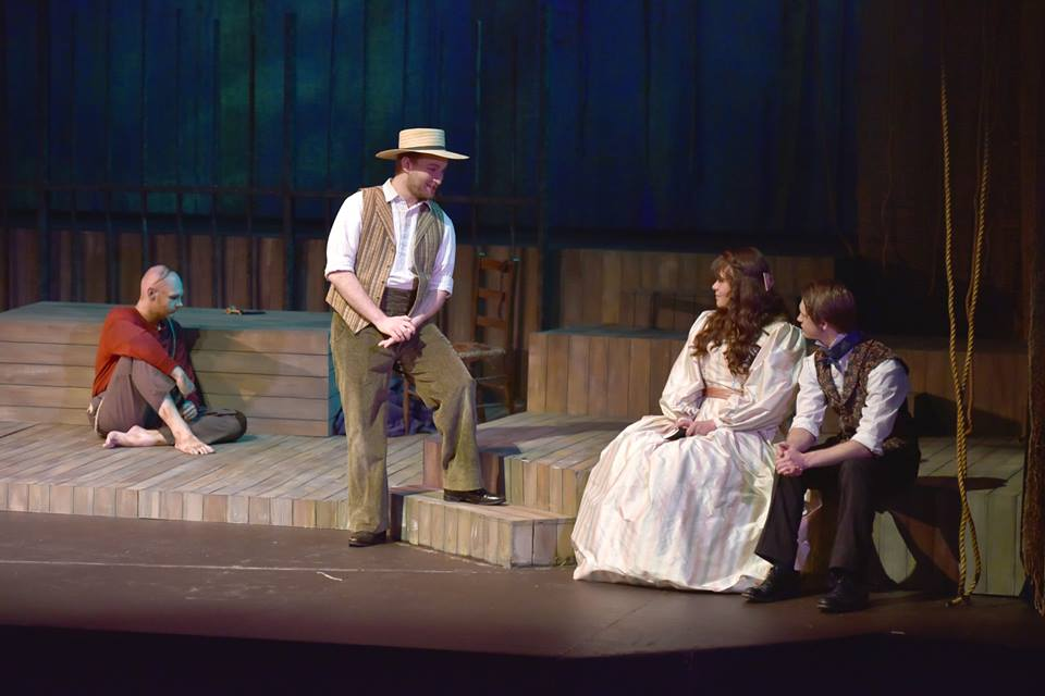 """The cast of """"The Night Thoreau Spent in Jail"""" perform in the Bud Frank Theatre. (Contributed)"""