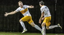 Clack celebrating after his goal against UNC-Asheville. Photo by Dakota Hamilton.