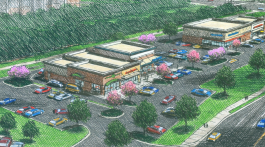 A drawing that shows what the University Shops development will look like once completed. (photograph courtesy of LCRE Partners)