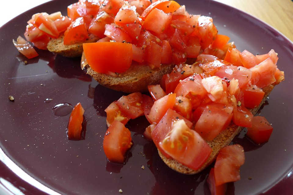 Bruschetta is super-simple and very tasty.