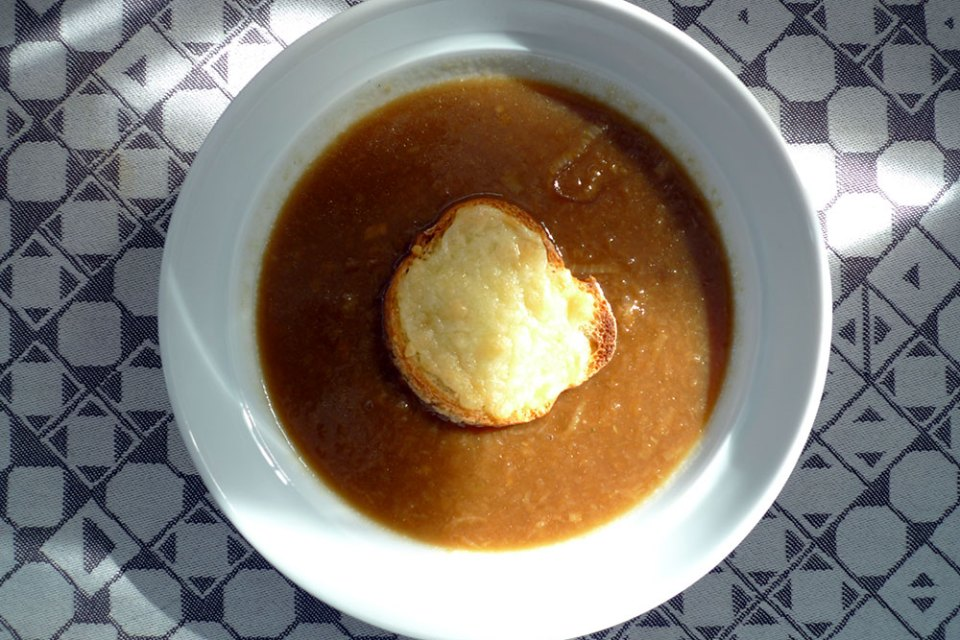 Onion soup is sweet and simple.