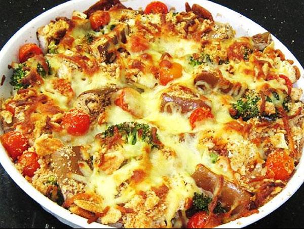 Baked Veggies With Traditional Italian Mozzarella Cheese Recipe