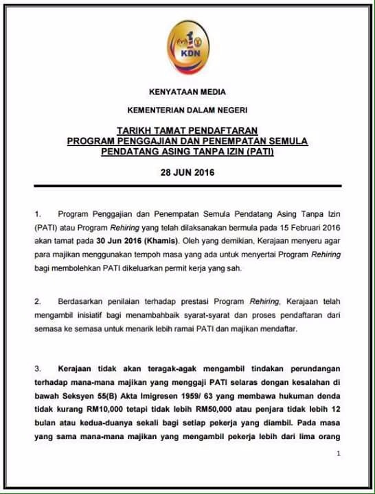 Malaysia Foreign Workers Rehiring Program