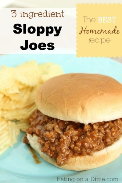 Sloppy Joes Recipe - only 3 ingredients! - Eating on a Dime