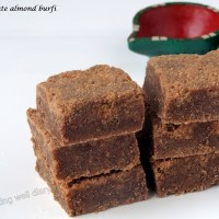 Chocolate almond burfi (brittle cake/ fudge)- Diwali special