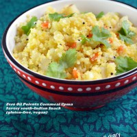 Zero Oil Polenta or Cornmeal Upma (Easy Savory Snack)