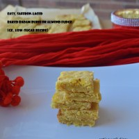 Easy Saffron-laced Baked Badam Burfi or Almond Fudge (gluten-free, vegan, low-sugar)