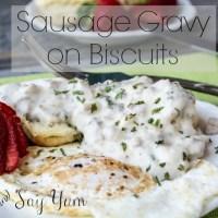 Sausage Gravy on Biscuits