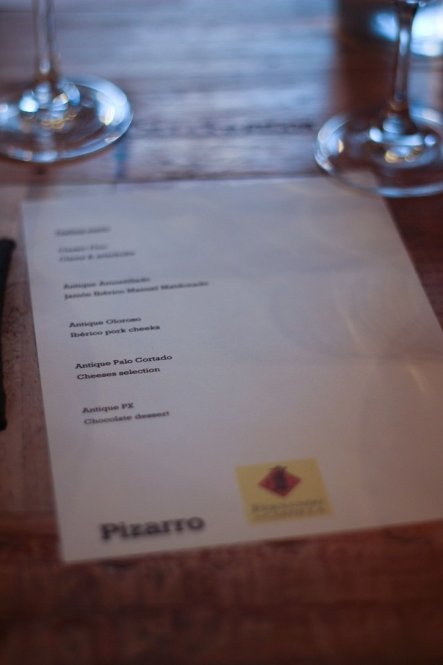 Fernando de Castillo Sherry Tasting & Food Matching at Pizarro, Bermondsey