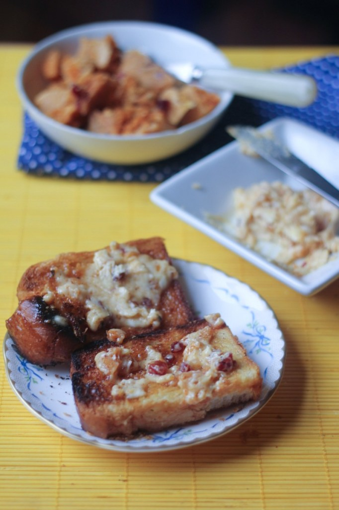 Chipotle Brown Sugar Candied Bacon Honeycomb Butter Brioche Toast