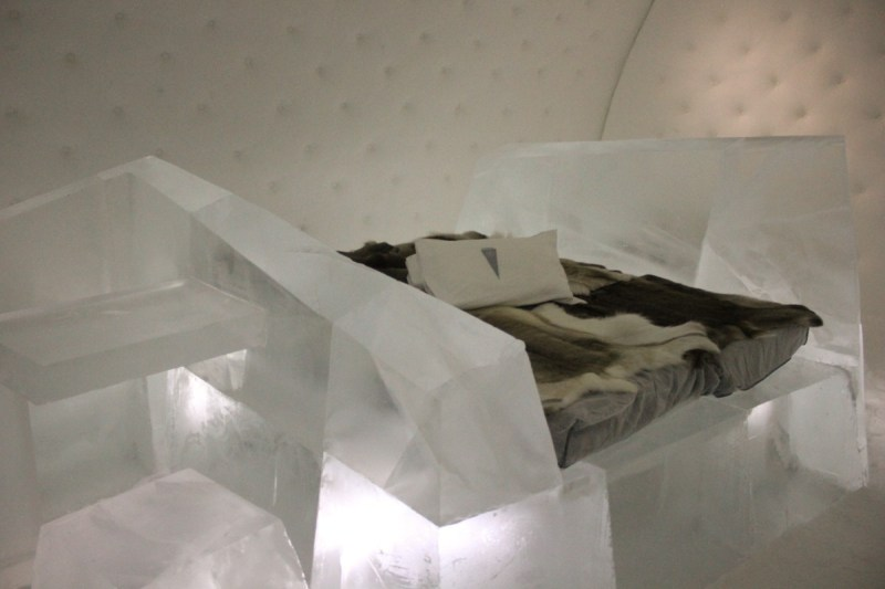 ICEHOTEL, Swedish Lapland - Iceberg Art Suite with fabulous quilted ice walls