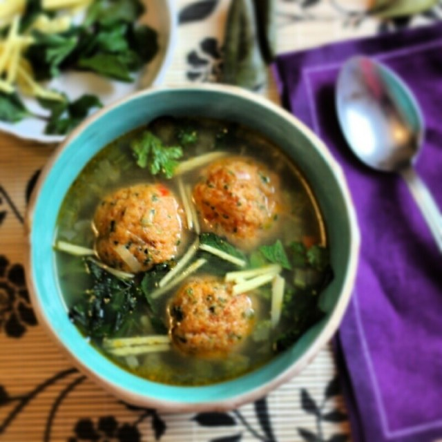 Recipe: Prawn & Chorizo Meatballs in Chicken Broth with Herbs