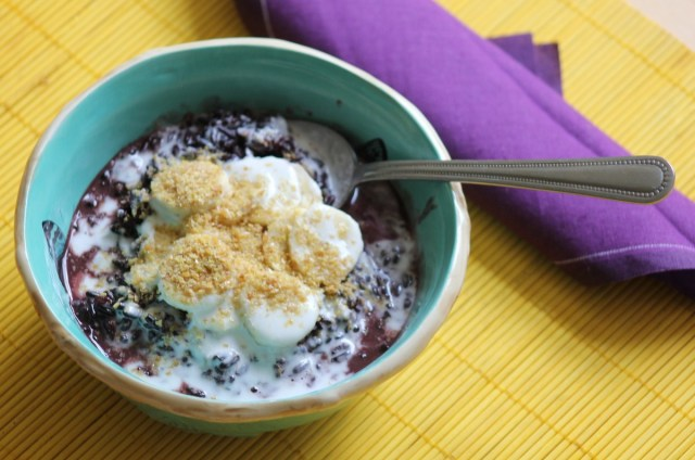 Black Sticky Rice with Banana, Coconut & Flaxseed