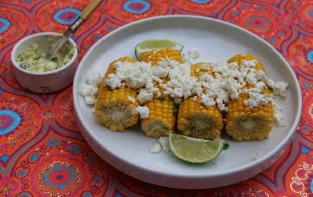 Corn with Lime & Chilli Butter and Feta