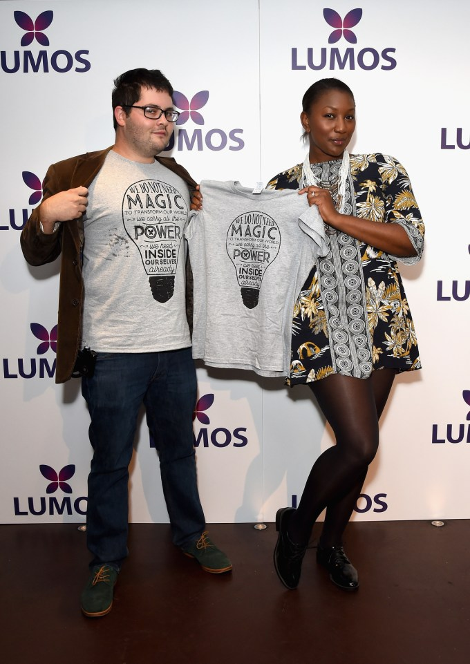 LONDON, ENGLAND - SEPTEMBER 18: Alex Shebar and Shamaine Watson supporting the Lumos launch of its 'Be the Light' T-shirt to raise funds for its work to help end the institutionalization of children around the world at The Hospital Club on September 18, 2016 in London, England. (Photo by David M. Benett/Getty Images for Lumos) *** Local Caption *** Alex Shebar;Shamaine Watson