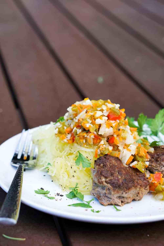Super Easy Giardiniera and Meatballs on Spaghetti Squash Recipe - gluten free, dairy free, grain free and delicious!