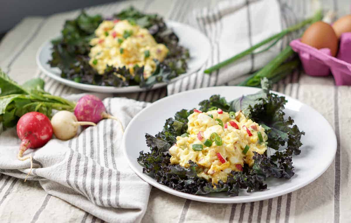 Simple 5 Ingredient Egg Salad Kale Wraps