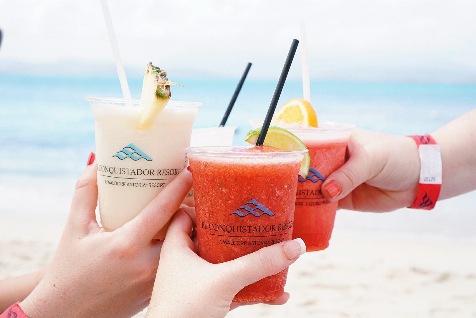 Frozen drinks on the beach puerto rico