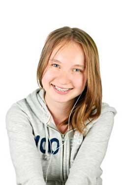 Teenage girl with braces