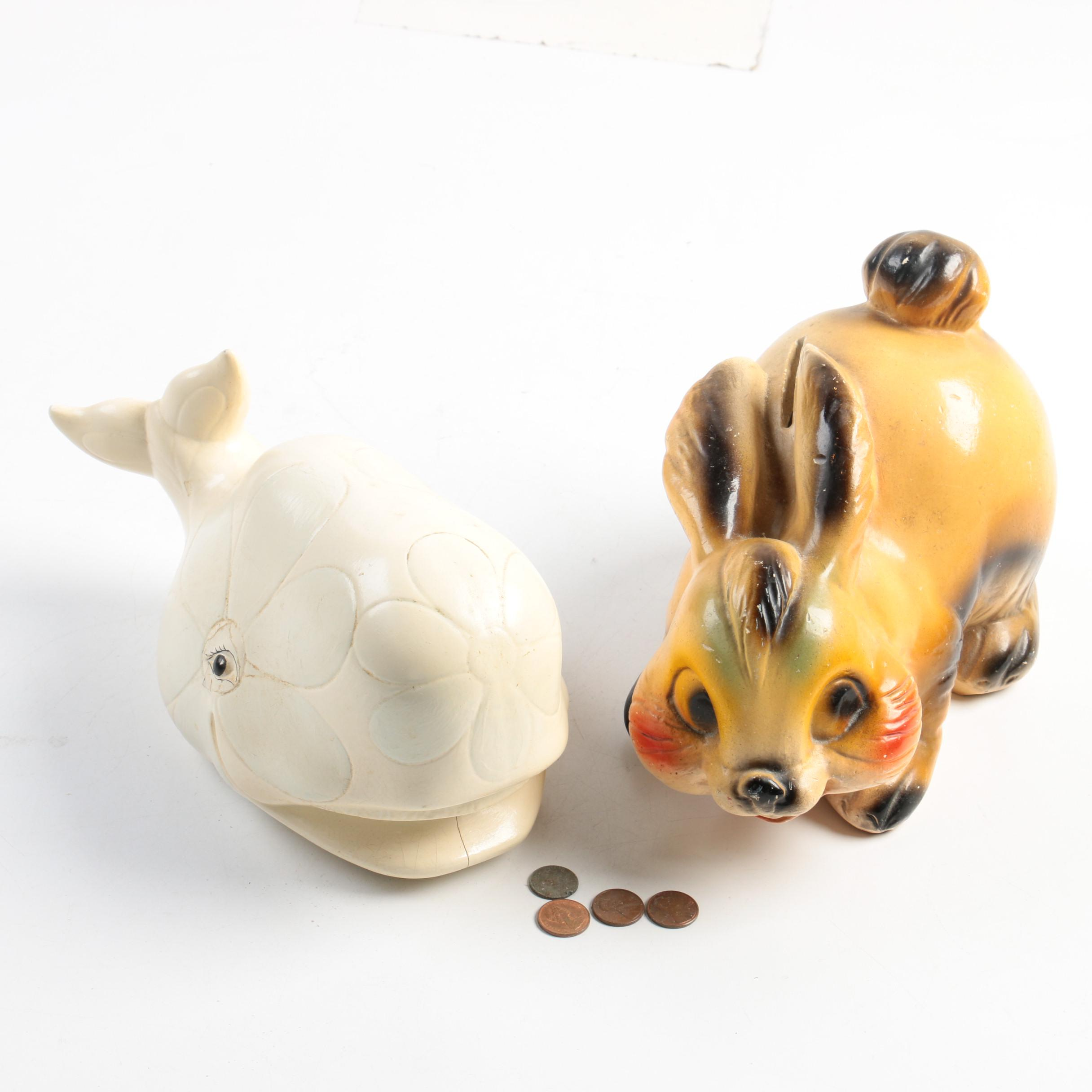 Ceramic Whale And Rabbit Coin Banks