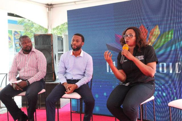 L-R: National Head of Sales, MultiChoice Nigeria, Ismail Olalekan; Project and Field Service Manager, MultiChoice Nigeria, Ekom Esang and Acting Head of Corporate Communications, MultiChoice Nigeria, Caroline Oghuma, during the DStv Installer App Press Launch held in Lagos