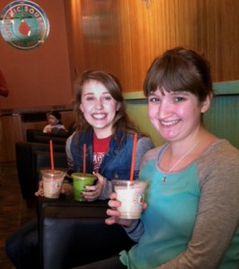 Amy Lauver and Grace Williams enjoy their organic smoothies. Photo by Amy Lauver