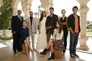 TYRANT - Pictured: (L-R) Nasser Faris as Khaled, Alice Krige as Amira, Ashraf Barhom as Jamal, Moran Atias as Leila, Adam Rayner as Barry, Anne Winters as Emma, Jennifer Finnegan as Molly, Noah Silver as Sammy. CR: Patrick Harbron/FX