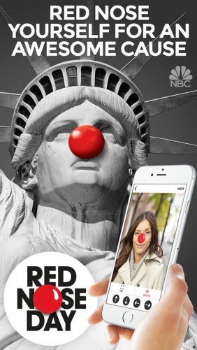 """RED NOSE DAY -- Pictured: """"Red Nose Day App - Red Nose Yourself for an Awesome Cause"""" iOS App Screen -- (Photo by: NBCUniversal)"""