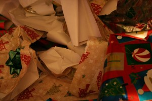 ripped christmas wrapping paper