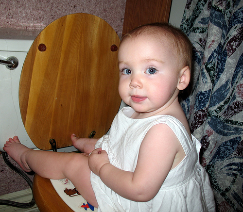 The Author's Diaper Free Baby on the Big Potty