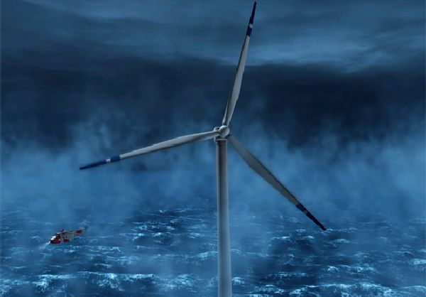 Floating wind turbine in North Sea