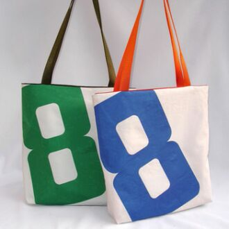 handmade tote from recycled sails