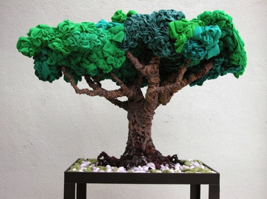 recycled clothing art by alain guerra and neraldo