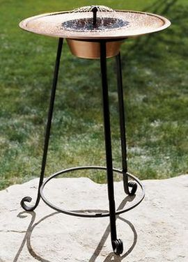 turkish copper solar powered birdbath