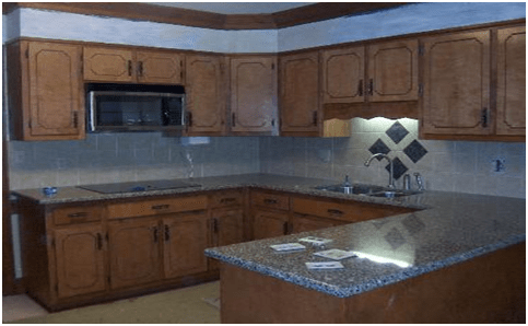 U shaped granite tile countertops