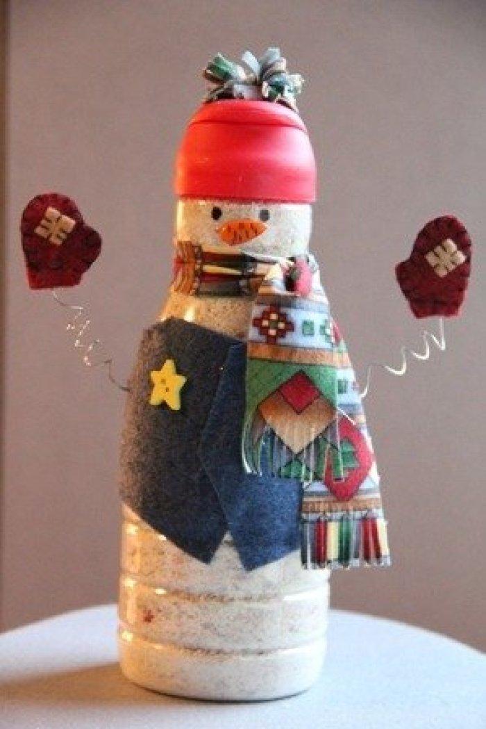 Muñeco de nieve con botella PET