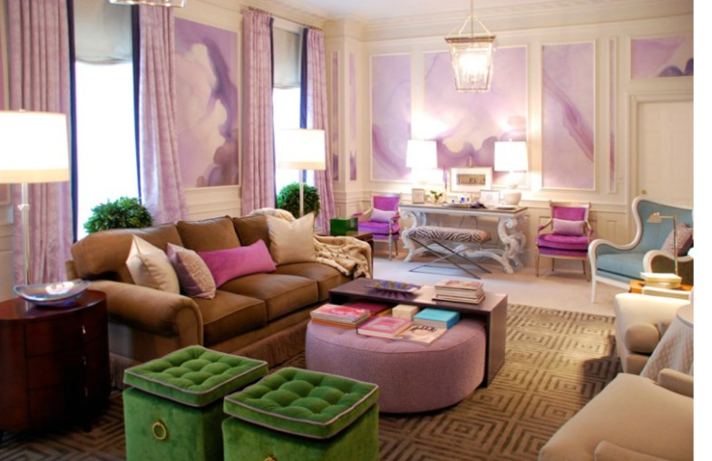 watercolor-mural-wallpaper-wall-covering-purple-green-living-room | EcoLuxe Studios