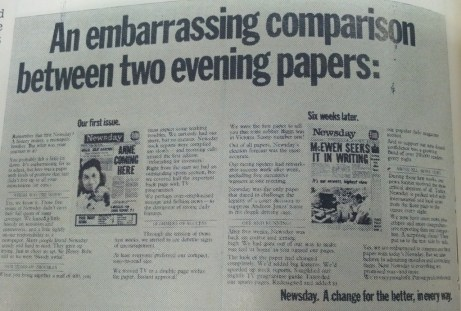 an embarrassing comparison between two evening papers. newsday.