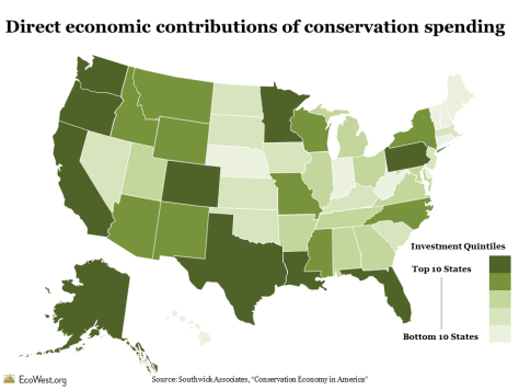Total direct economic contributions of conservation spending, by state