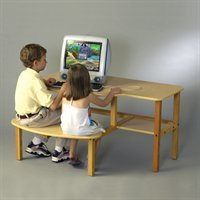 Picture of Comfortable Wild Zoo Furniture B-D WHT-WHT-WZ Grade School Buddy Computer Desk in White with White Trim (B0029L61YW) (Computer Desks)