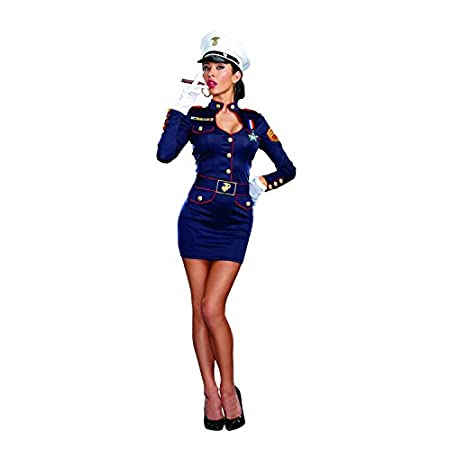 She was more than willing to do her duty, but no one wanted to go to war with this elegant beauty. Conquer hearts in all divisions when you dazzle in this sexy navy blue stretch military dress with combat ribbon, hat, belt, and commendation medal.
