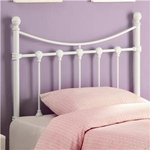 Image of Twin Size Kid Metal Headboard with Shell Accents in White Finish (VF_450101T)