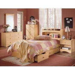 Image of Kids Bedroom Furniture Set 2 in Natural Maple - Alegria Collection - Nexera Furniture - 400125 (B004CVXKTG)