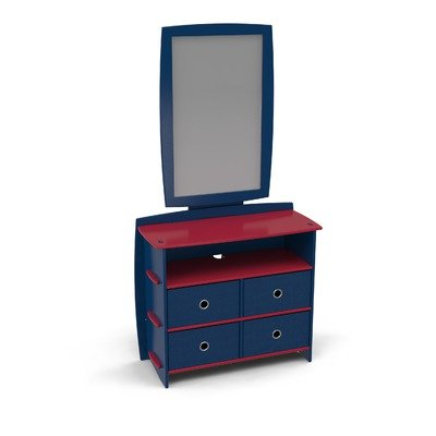 Image of Legare Furniture DRNM-120 / MRVM-110 Legare Kids Dresser and Mirror Set in Black and Red (DRNM-120 / MRVM-110)