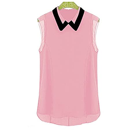 Amoin Women Sleeveless Button Vintage Sheer Tops Lace Shirt Chiffon Blouse